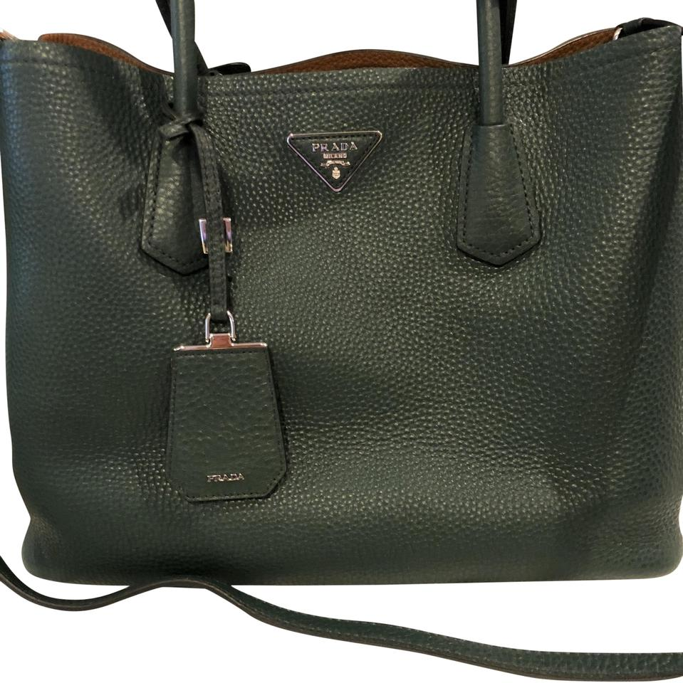 f2dae1eb4ea1 Prada Double New Limited Edition Large Emerald Green and Tan Pebbled ...