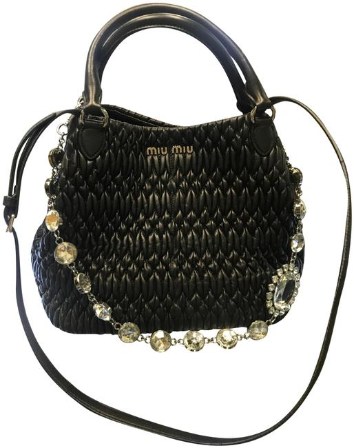 Item - Jewelled Matelass Tote Shoulder Black Lambskin Leather Satchel