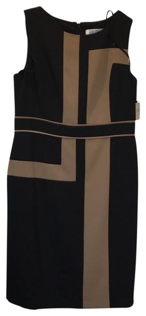 Preload https://img-static.tradesy.com/item/22781256/kasper-camel-black-province-sleeveless-short-workoffice-dress-size-12-l-0-2-650-650.jpg