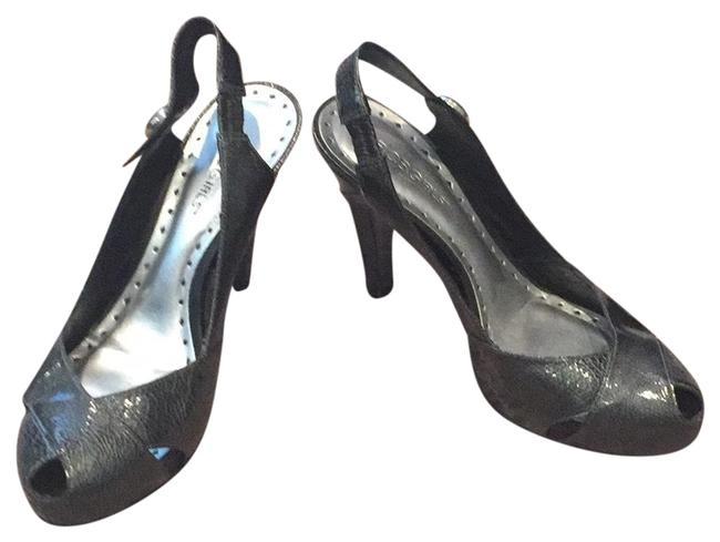 Item - Silver Crisscross Peep Toe Stiletto Pumps Size US 8 Regular (M, B)