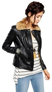 Free People Faux Leather Faux Fur Bomber Motorcycle Jacket