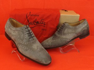 Christian Louboutin Gray Platterissimo Suede Wingtip Lace Up Oxfords Brogue 42 9 Shoes