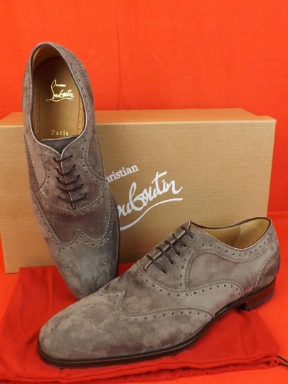 Christian Louboutin Gray Platterissimo Suede Wingtip Lace Up Oxfords Brogue 42 9 Shoes Image 1
