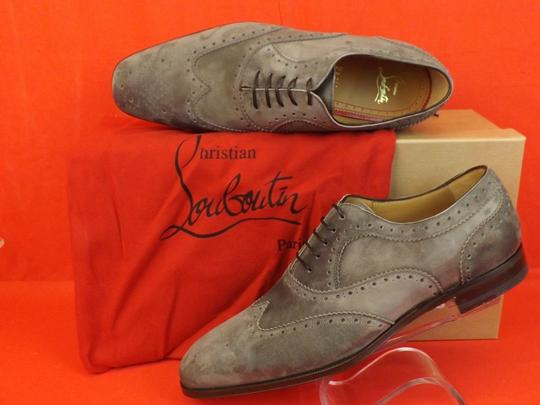 Christian Louboutin Gray Platterissimo Suede Wingtip Lace Up Oxfords Brogue 42 9 Shoes Image 3