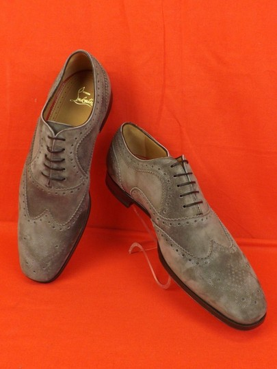 Christian Louboutin Gray Platterissimo Suede Wingtip Lace Up Oxfords Brogue 42 9 Shoes Image 5