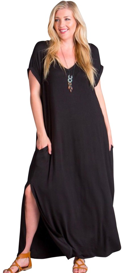 Black 1x with Pockets Slits Loose Fit V Neck Long Casual Maxi Dress Size 20  (Plus 1x) 49% off retail