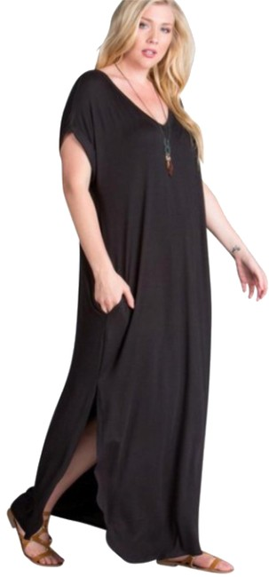 black Maxi Dress by Other Short Sleeve Maxi With Pockets Side Slits Summer Maxi Plus Size Maxi Image 1