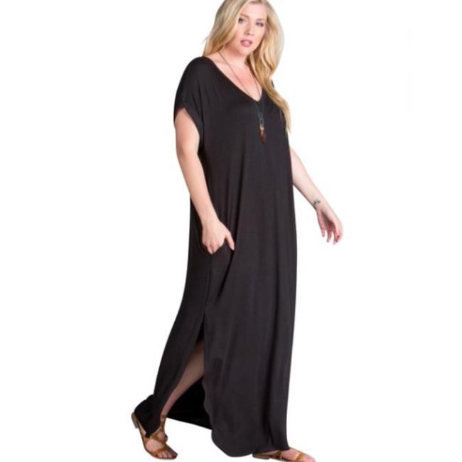 black Maxi Dress by Other Short Sleeve Maxi With Pockets Side Slits Summer Maxi Plus Size Maxi Image 2