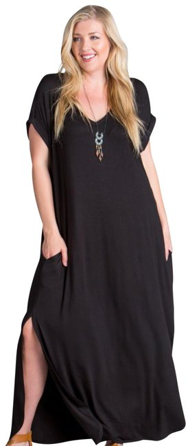 black Maxi Dress by Other Short Sleeve Maxi With Pockets Side Slits Summer Maxi Plus Size Maxi Image 3