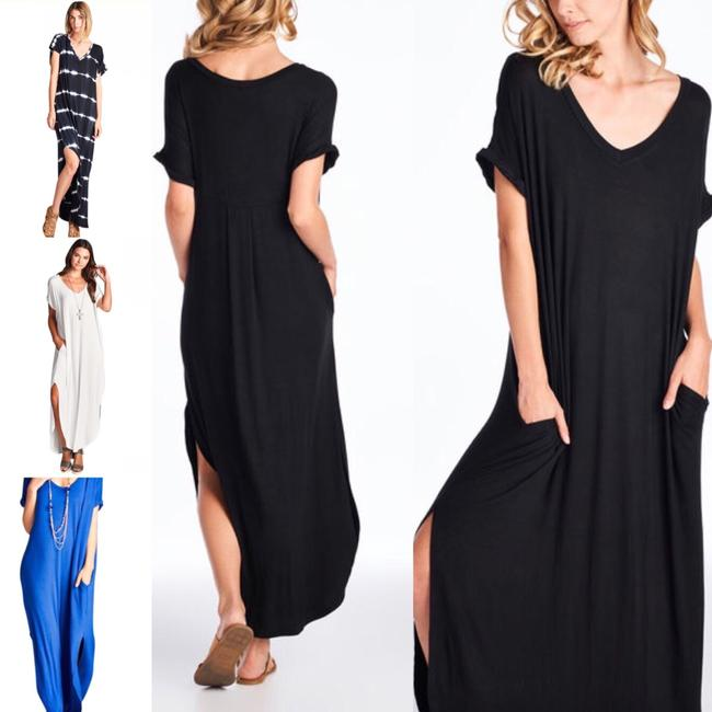 black Maxi Dress by Other Short Sleeve Maxi With Pockets Side Slits Summer Maxi Plus Size Maxi Image 4