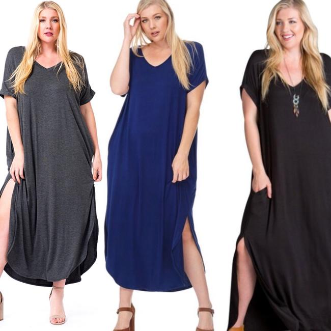 black Maxi Dress by Other Short Sleeve Maxi With Pockets Side Slits Summer Maxi Plus Size Maxi Image 5