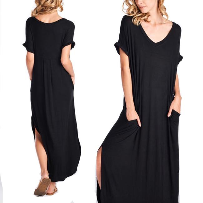 black Maxi Dress by Other Short Sleeve Maxi With Pockets Side Slits Summer Maxi Plus Size Maxi Image 7