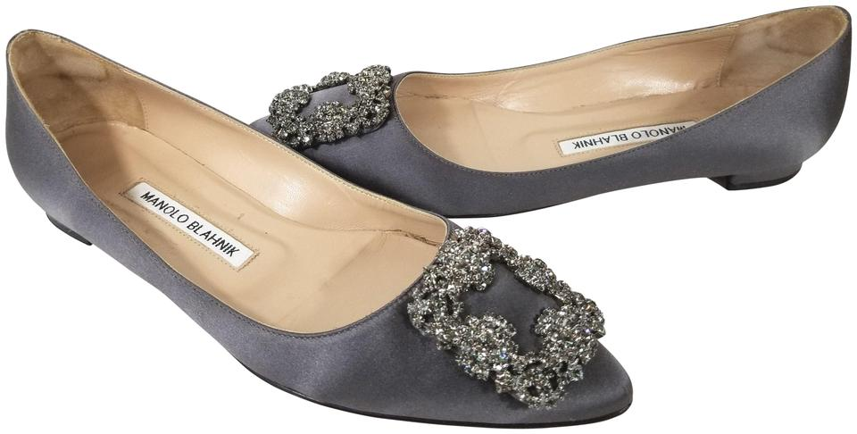 bcf62a04100cd ... Shoes on Carousell Manolo Blahnik Jewel Embellishment Elegant Satin  Padded Insole Made In Italy Almond-toe Grey Flats .