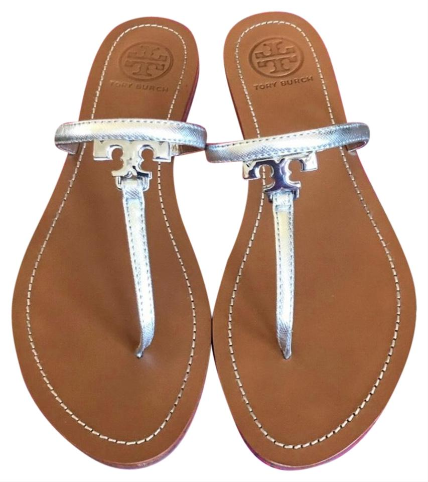 e99ee2fbb6ced Tory Burch Silver T Logo Thong Sandals Size US 9 Regular (M