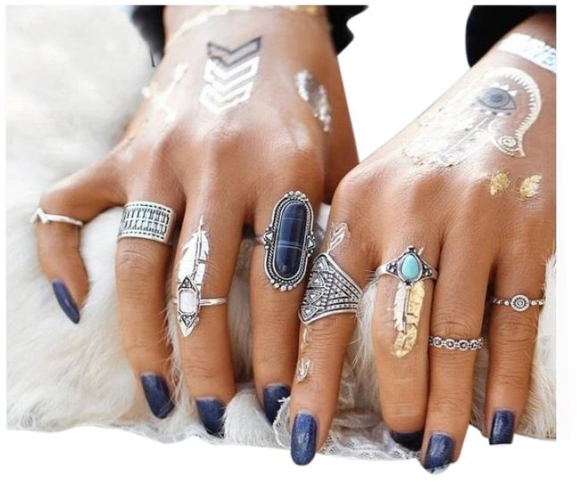 Item - Silver Blue 8 Pcs Vintage Flower Bohemian Set Ring