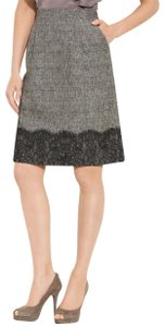 Classiques Entier Side Zip Fully Lined + Lace Scalloped Lace A Line Career Skirt Black Tweed