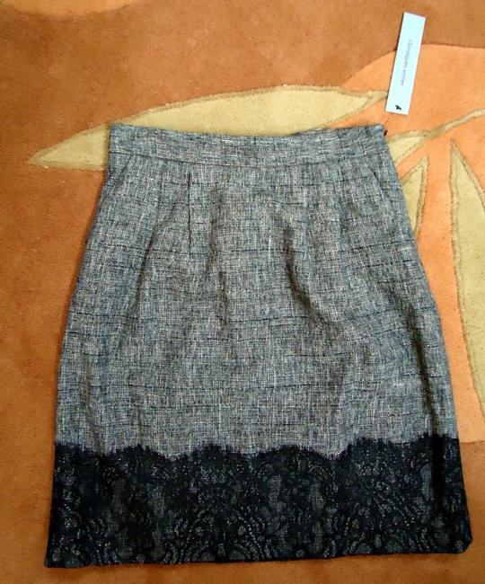 Classiques Entier Side Zip Fully Lined + Lace Scalloped Lace A Line Career Skirt Black Tweed Image 4