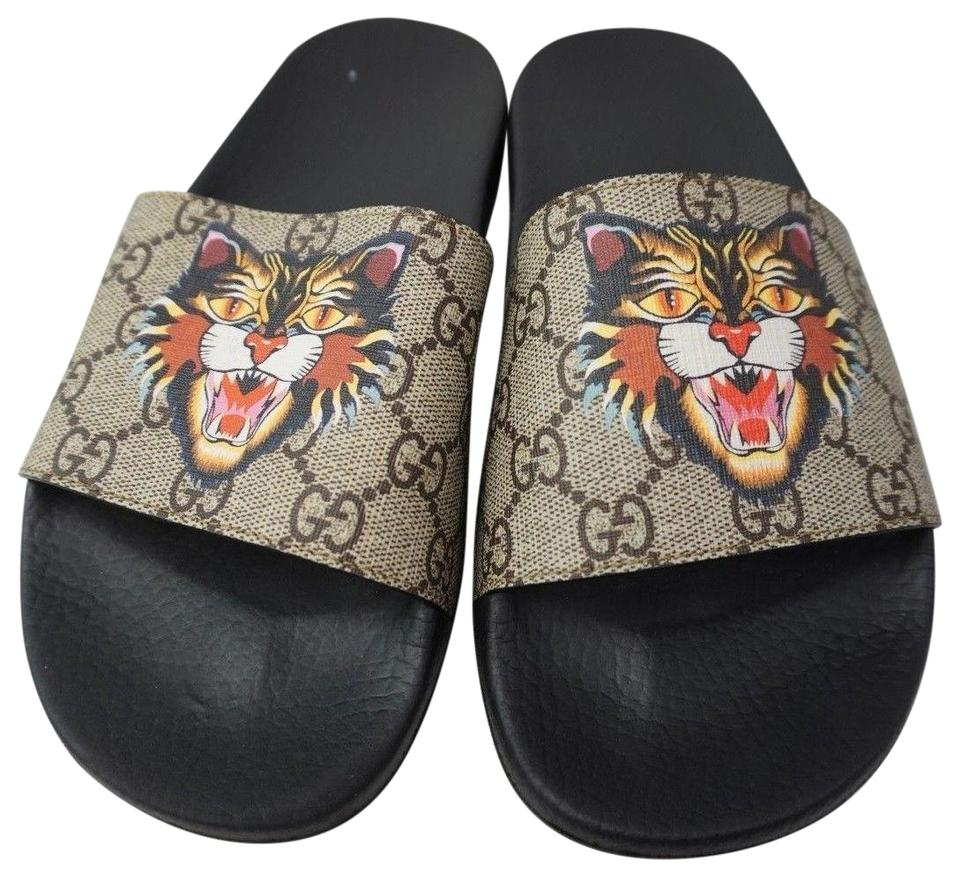 Gucci Beige Pursuit Angry Cat Print Gg Supreme Slide Women\u0027s Sandals Size  EU 39 (Approx. US 9) Regular (M, B) 29% off retail