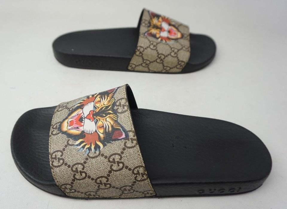 90f4a694787 Gucci Beige Pursuit Angry Cat Print Gg Supreme Slide Women s Sandals ...