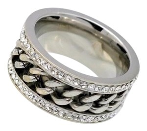 Queenesthershop Never Fade Chain Shape Stainless Steel Women Ring