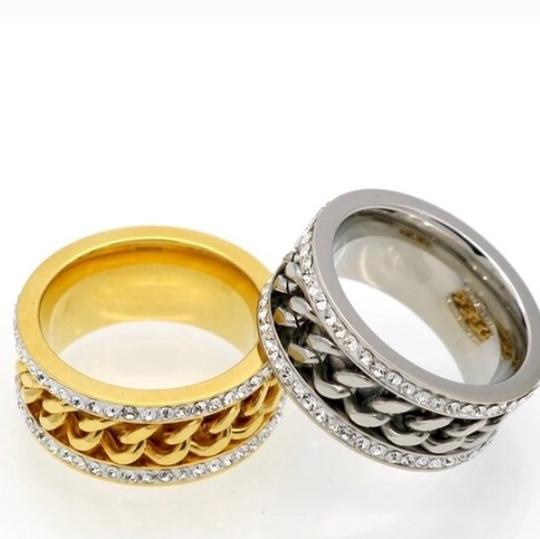 Queenesthershop Never Fade Chain Shape Stainless Steel Women Ring Image 1