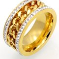 Queenesthershop Never Fade Chain Shape Stainless Steel Women Ring Image 2