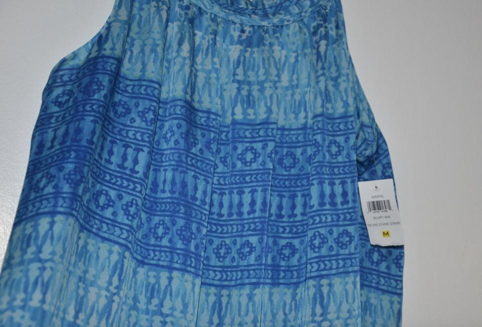 Oscar de la Renta Blue Tie Dye Etching Stripe Beach Night Gown Long ...