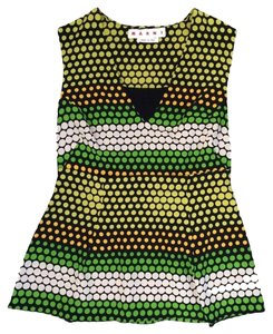 Marni Italian Polka Dot Top Green and Yellow