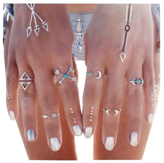 Queenesthershop 6PCS Vintage Steampunk Moon Arrow Ring Set Image 0