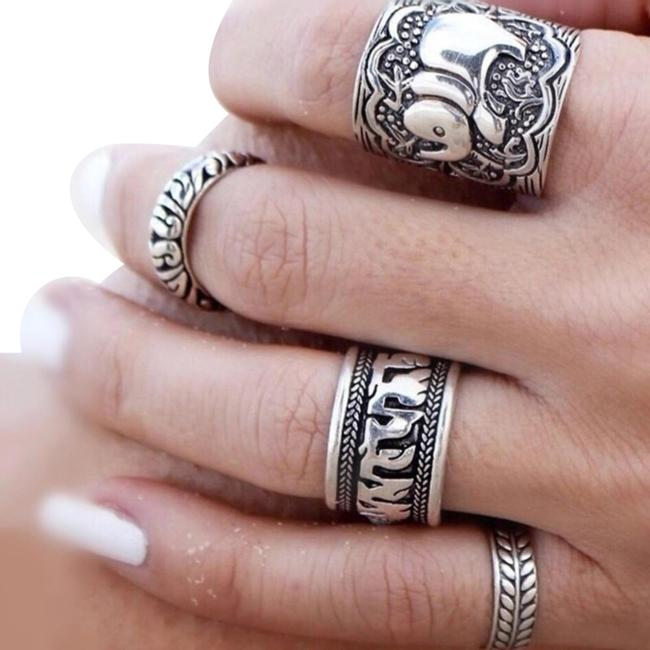 Item - Silver Women's 4pcs Vintage Punk Elephant Ring