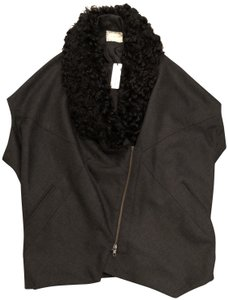 Gary Graham Shearling Vest New With Tags charcoal Blazer