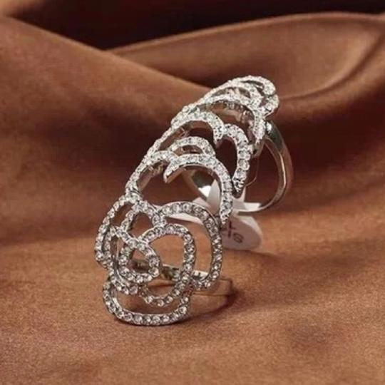 Queenesthershop Gorgeous Rhinestone Bezel Adjustable Ring Image 1