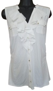 White House | Black Market Ruffled Tank Spring Summer Ruched Button Down Shirt White