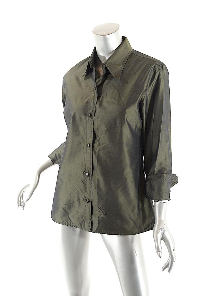 5efc9812c93121 Isaac Mizrahi Green Olive Silk Dupioni Blouse Button-down Top Size ...