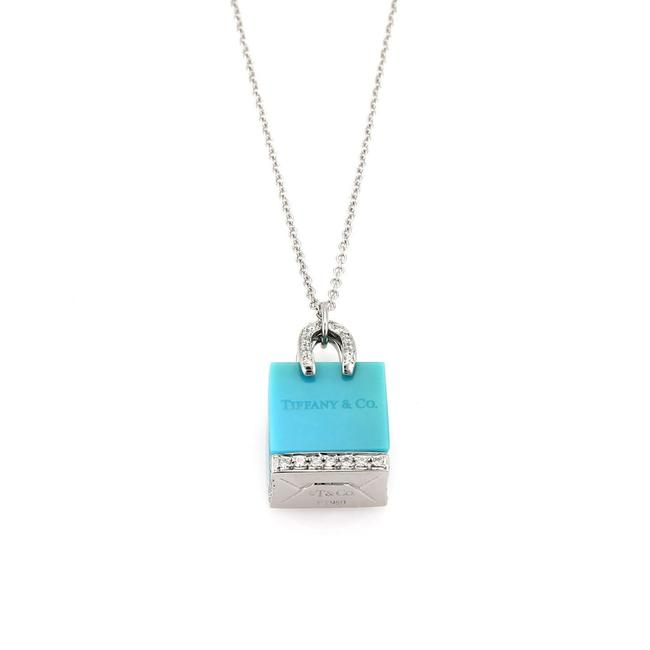 Tiffany & Co. (21927 M) Shopping Bag Diamond Platinum Turquoise Pendant Necklace Tiffany & Co. (21927 M) Shopping Bag Diamond Platinum Turquoise Pendant Necklace Image 1