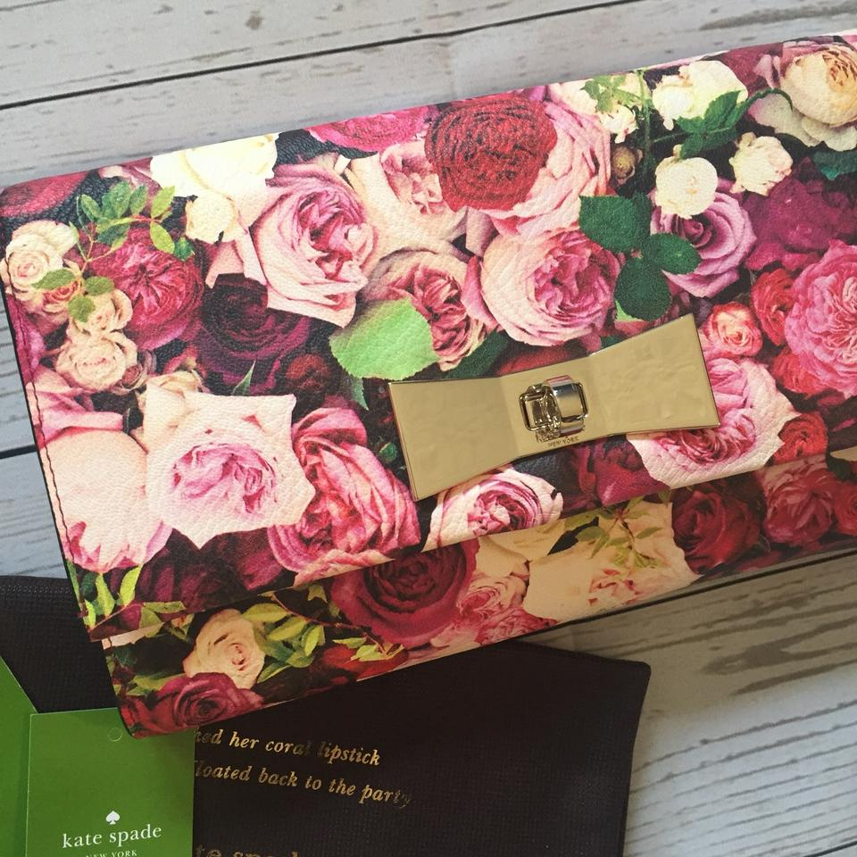 a4f53c8fdfba Kate Spade Eleni Evening Belles Floral Pink Roses Leather Clutch - Tradesy