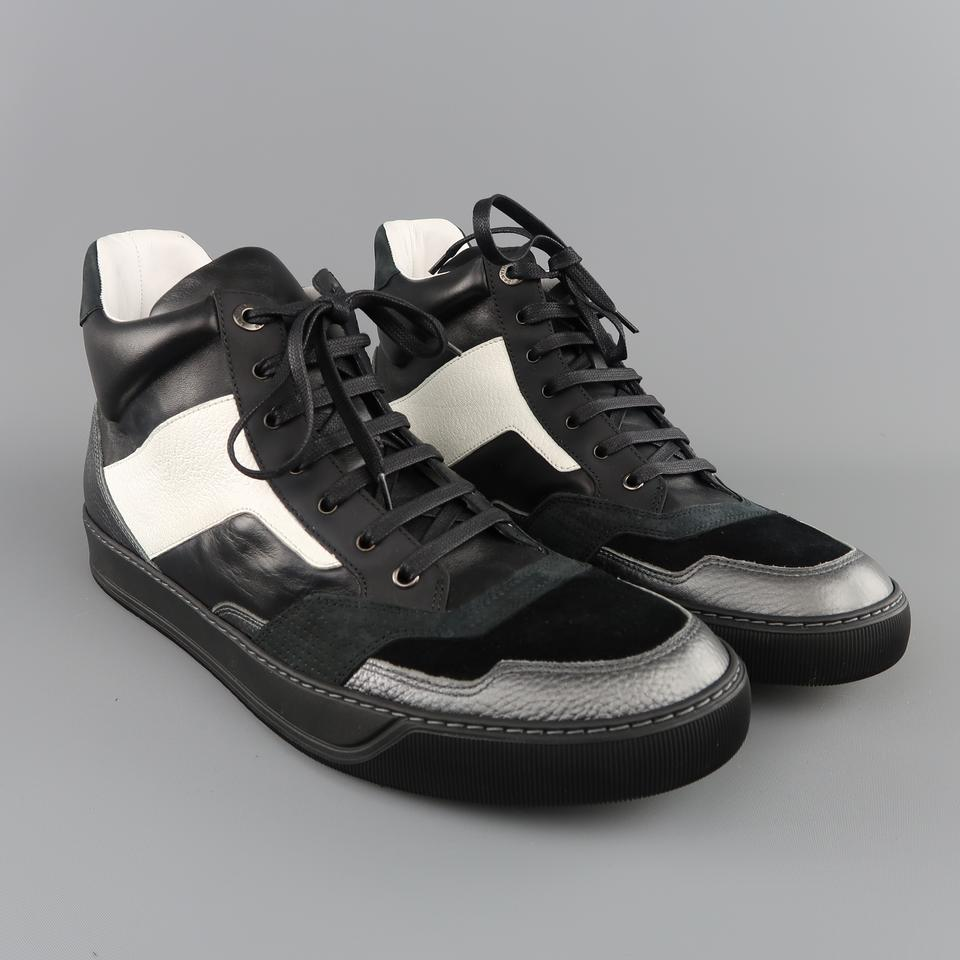 6cb44d23d90 Lanvin Two Toned Leather High Top Sneaker Suede Black Athletic Image 9.  12345678910