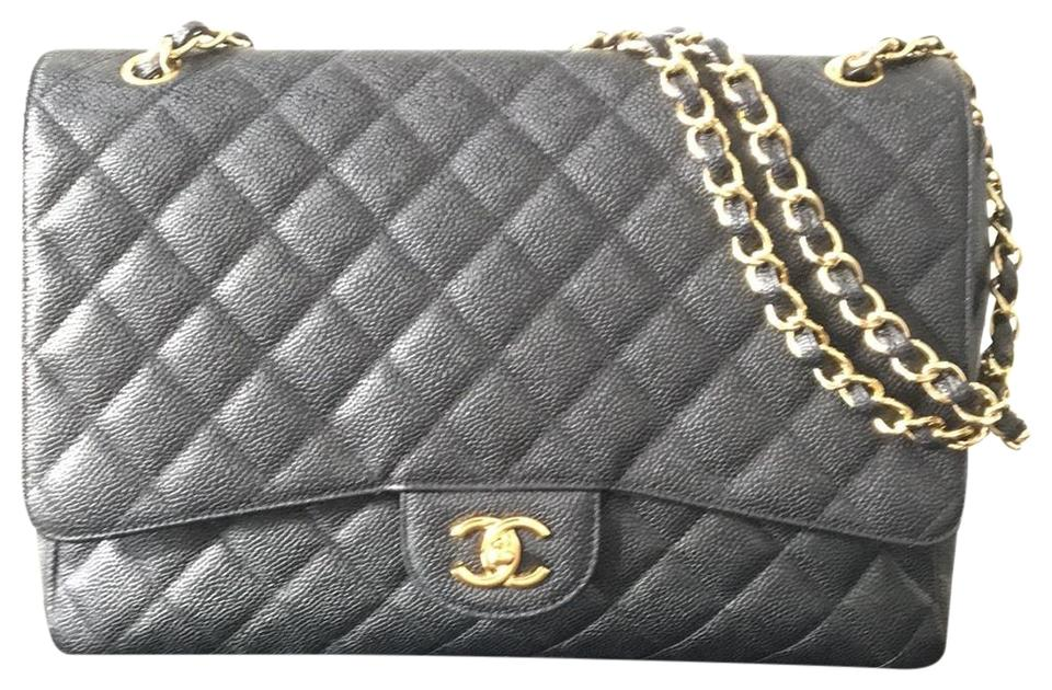 Chanel Classic Flap Quilted Jumbo Gold Hardware Black Caviar Leather ... 25fb9dd6f0584