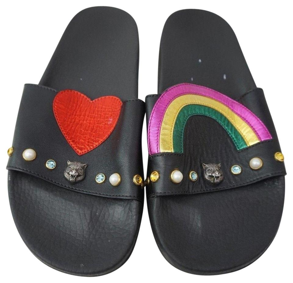17cd1398 Gucci Black Pursuit Heart and Rainbow Pool Slides Women's Flat Sandals Size  EU 40 (Approx. US 10) Regular (M, B)