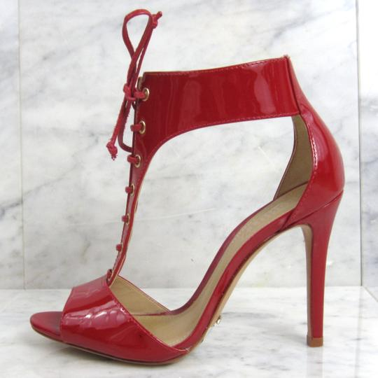 SCHUTZ Peep Toe D'orsay Lace Up Bright Red Sandals Image 2
