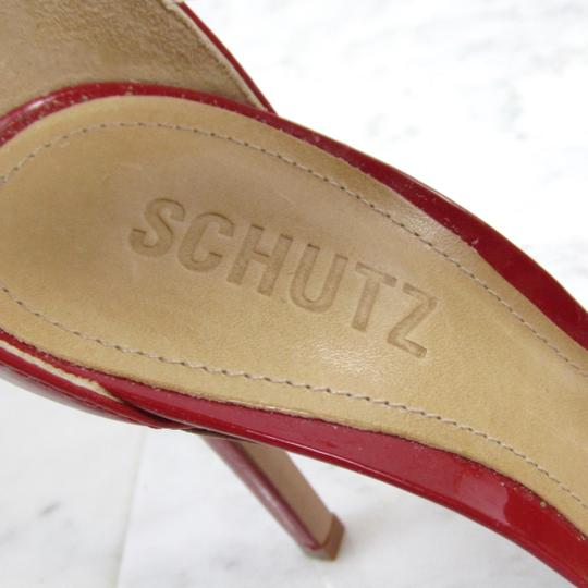 SCHUTZ Peep Toe D'orsay Lace Up Bright Red Sandals Image 7