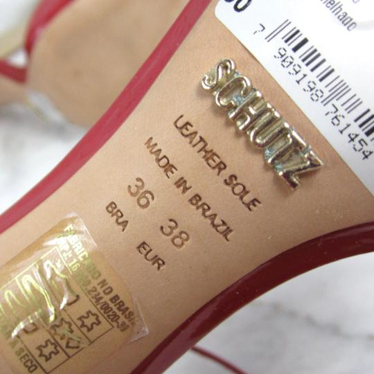 SCHUTZ Peep Toe D'orsay Lace Up Bright Red Sandals Image 8