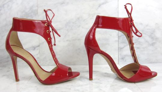 SCHUTZ Peep Toe D'orsay Lace Up Bright Red Sandals Image 9