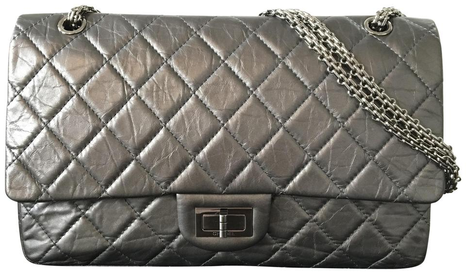 8569303a53b5fb Chanel 2.55 Reissue Quilted 227 Flap Dark Silver Metallic Aged ...