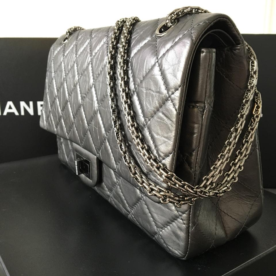 eed1f9d6900ee2 Chanel 2.55 Reissue Quilted 227 Flap Dark Silver Metallic Aged ...