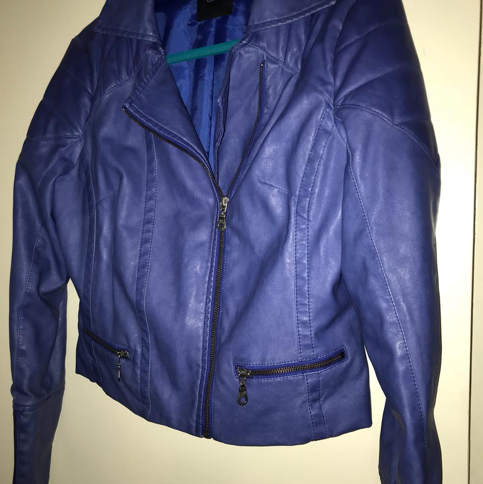 unequal in performance new product biggest selection ASOS Blue/Purple Ultraviolet Faux Leather Moto Jacket Size 10 (M)