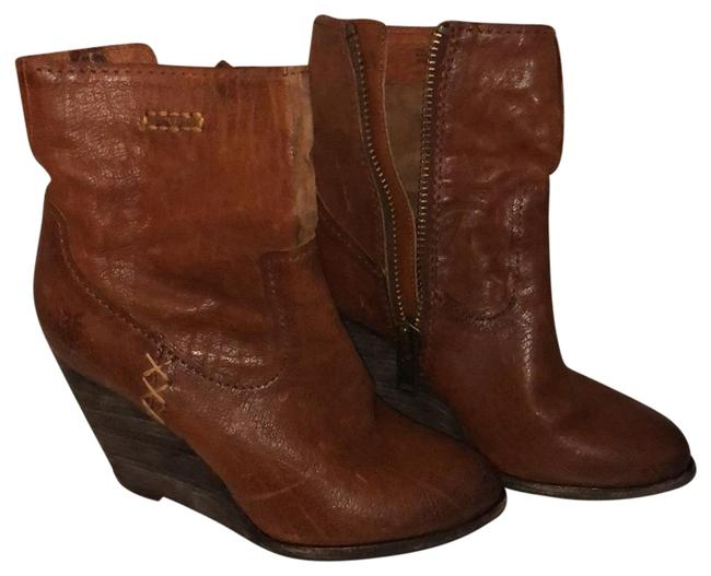 Item - Brown Leather Bootie Wedges Size US 6 Regular (M, B)