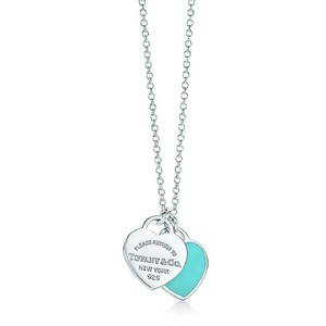 "Tiffany & Co. ""Return to Tiffany"" Mini Double Heart Necklace with Blue Enamel - 16"