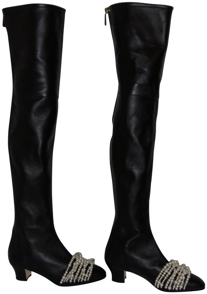 8a2ef3fd439 Chanel Black Over The Knee Lambskin High Leather with Pearls Boots Booties