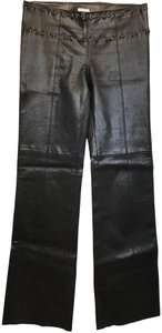 Illia Leather Side Zip Flare Trouser Pants Brown